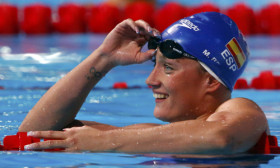 Spain's Belmonte reacts after finishing second in the women's 200m butterfly final during the World Swimming Championships at the Sant Jordi arena in Barcelona